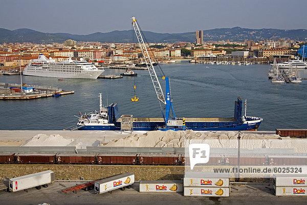 Frachtschiff entladen  Hafen von Livorno  Toskana  Italien  Europa