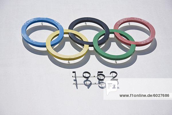 Olympischen Ringen  1952 Olympic Stadium  Helsinki  Finnland  Skandinavien  Europa