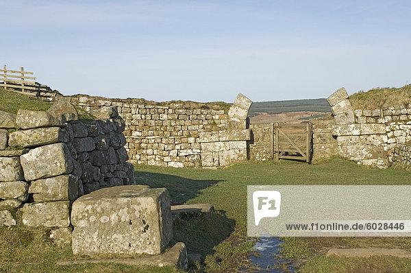 Milecastle 37  mit Resten der gewölbten Gateway  führende heraus auf Nordseite zu einer steilen Rückgang  Roman Wall westlich lag  UNESCO Weltkulturerbe  Northumbria  England  Vereinigtes Königreich  Europa