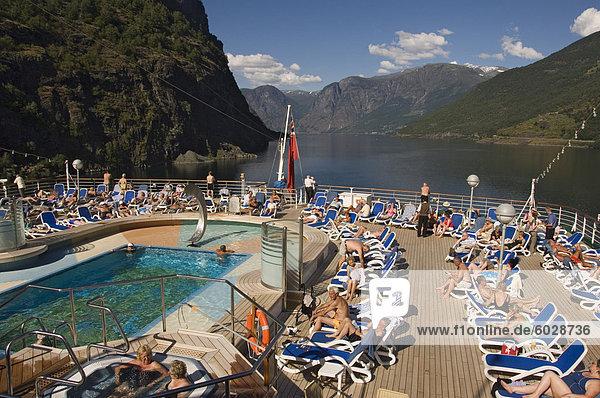 Europa über Norwegen Ansicht Sonnenterrasse Skandinavien