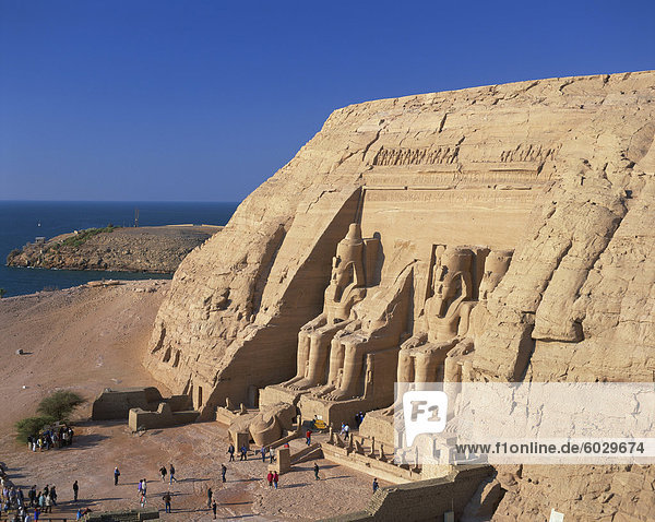 Aerial view over the Temple of Re-Herakhte (Sun Temple) (Great Temple) built for Ramses II  moved to current site when the Aswan High Dam was built  Abu Simel  UNESCO World Heritage Site  Nubia  Egypt  North Africa  Africa