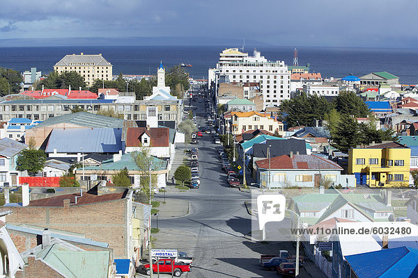 Aerial view of Punta Arenas  Patagonia  Chile  South America