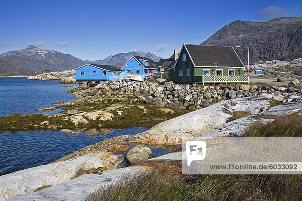 Colorful houses  Port of Nanortalik  Island of Qoornoq  Province of Kitaa  Southern Greenland  Kingdom of Denmark  Polar Regions