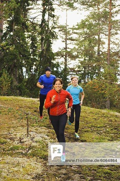 Drei Athleten Joggen durch Wald