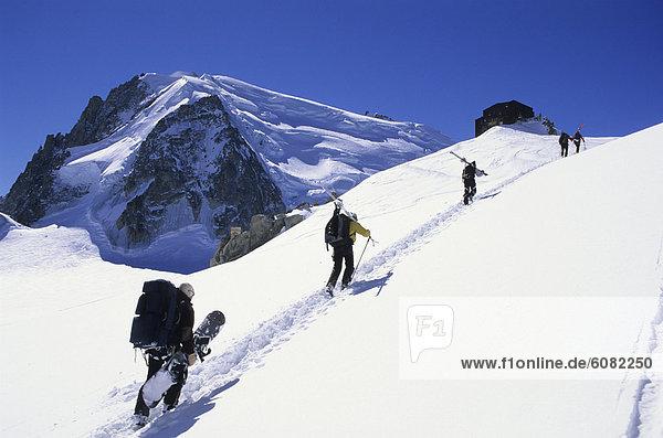 hoch  oben  Frankreich  wandern  Ski  Flucht  Chamonix