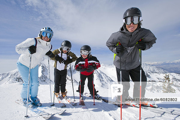 Family skiing in Snowbird  Utah
