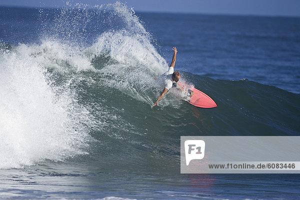 Mann  Felsen  jung  zeigen  Hawaii  North Shore  Oahu  Wellenreiten  surfen