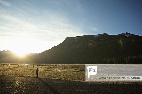 Frau  Sonnenaufgang  Fernverkehrsstraße  Feld  Getränk  Kaffee  Yellowstone Nationalpark