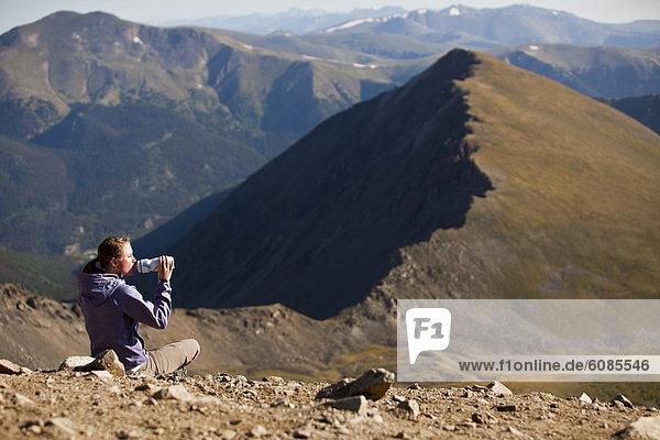 hoch  oben  Wasser  Frau  Berg  Getränk  Flasche  Colorado