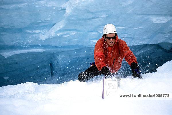 Berg  Klettern  Alaska  Gletscherspalte