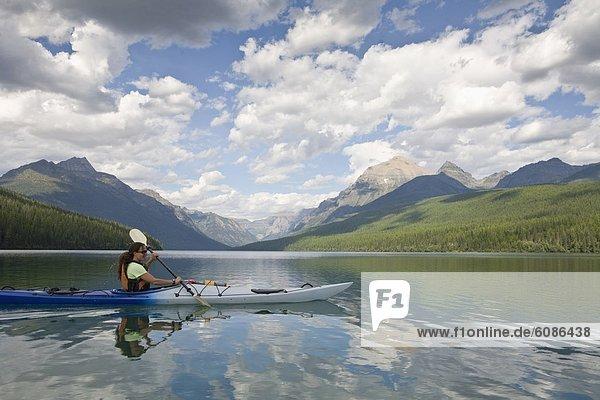 Nationalpark See Ruderer Kajakfahrer