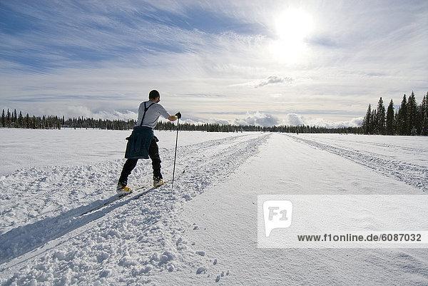 überqueren  Mann  Ski  folgen  Schnee  See  Safari  jung  Alaska  Kreuz