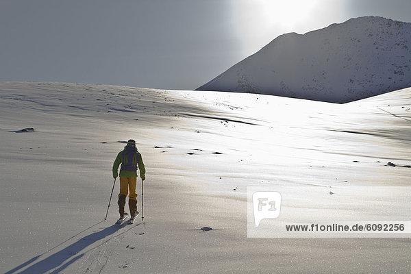 Norway  Lyngen  Skier standing on snowy land
