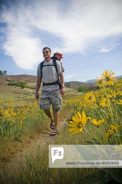Blume  gelb  Enkeltochter  Großvater  Feld  wandern
