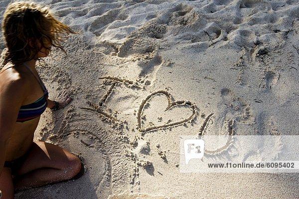 Frau  schreiben  Liebe  Strand  Mexiko