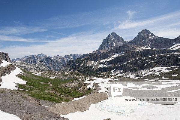 Berg  Tag  Tal  blau  Vogel  Ansicht  Schnee  Wyoming