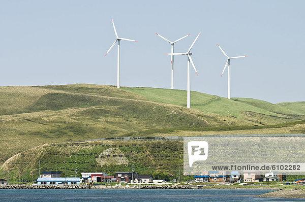 Sojasoße Windturbine Windrad Windräder über Stadt Hokkaido Japan Soya