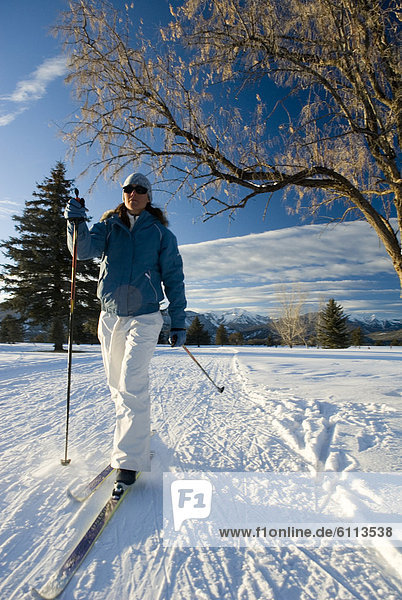 Spur  überqueren  Frau  Skisport  Kreuz