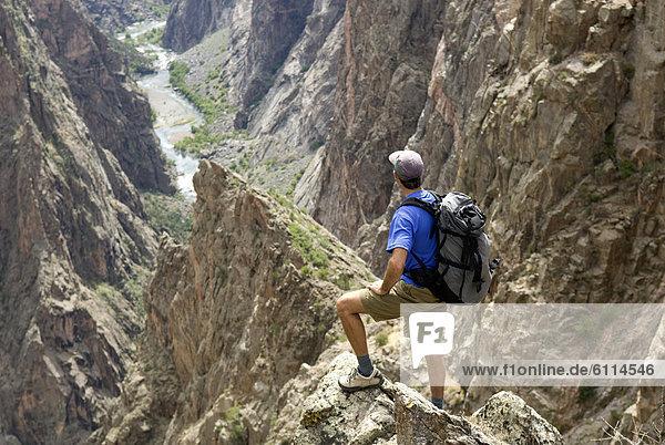 Mann  schwarz  wandern  Schlucht  Colorado  North Rim