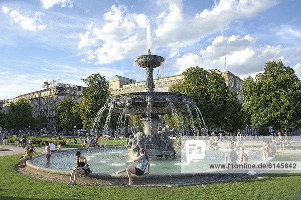 Fountain in Schlossplatz square  Stuttgart  Baden-Wuerttemberg  Germany  Europe