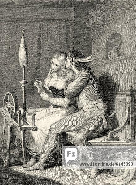 Historischer Stahlstich aus dem 19. Jahrhundert  Liebespaar mit Spinnrad  Szene der Ballade Die Spinnerin von Johann Wolfgang von Goethe