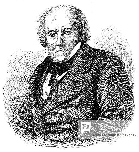 Historische Zeichnung  19. Jahrhundert  Portrait von Jean-Baptiste Biot  1774 - 1862  ein französischer Physiker und Mathematiker  Biot-Savart-Gesetz