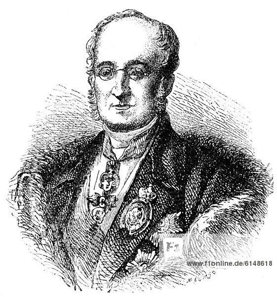 Historische Zeichnung  19. Jahrhundert  Portrait von Karl Robert Graf von Nesselrode oder Karl Wassiljewitsch Nesselrode  1780 - 1862  ein russischer Diplomat  Außenminister und Kanzler