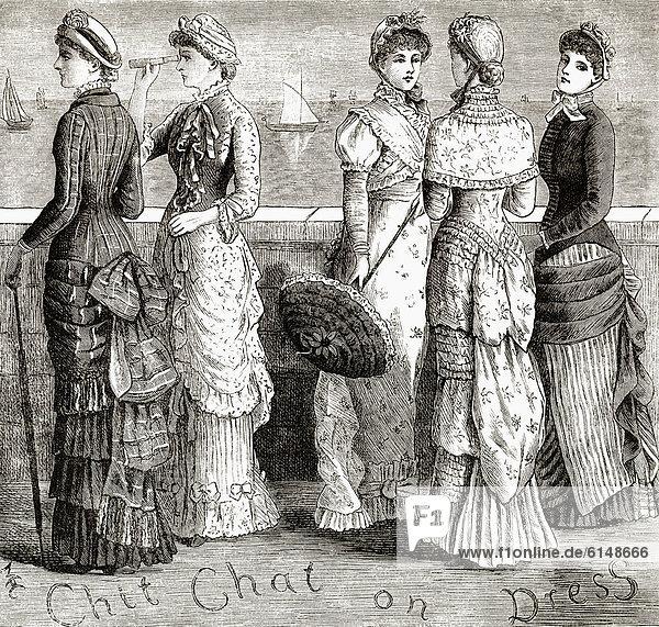 Historische Zeichnung aus England  19. Jahrhundert  Damenmode um 1881