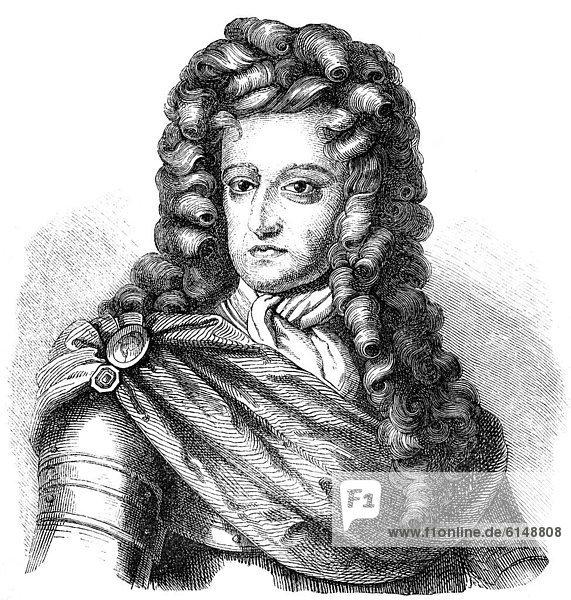 Historische Zeichnung aus dem 19. Jahrhundert  Portrait von Wilhelm III. von Oranien-Nassau  1650 - 1702  Statthalter der Niederlande und König von England  Schottland und Irland