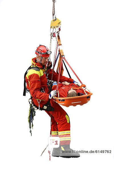 hoch oben Rettung Korb Mensch Rettungsdienst abseilen Winkel