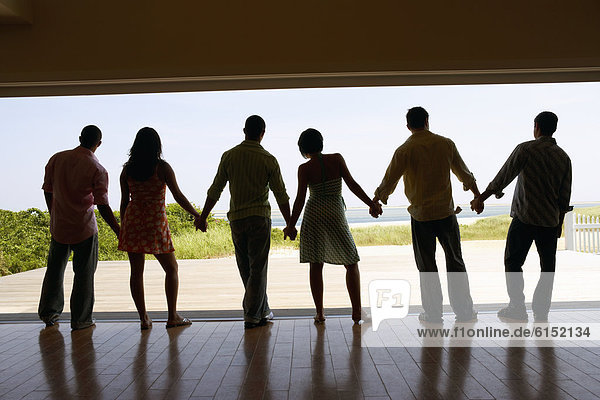 Freundschaft  Strand  Silhouette  halten  Urlaub