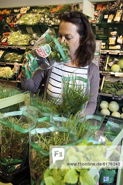 Frau kauft in der Obst- und Gemüseabteilung ein  frische Kräuter im Topf  Selbstbedienung  Lebensmittelabteilung  Supermarkt  Deutschland  Europa