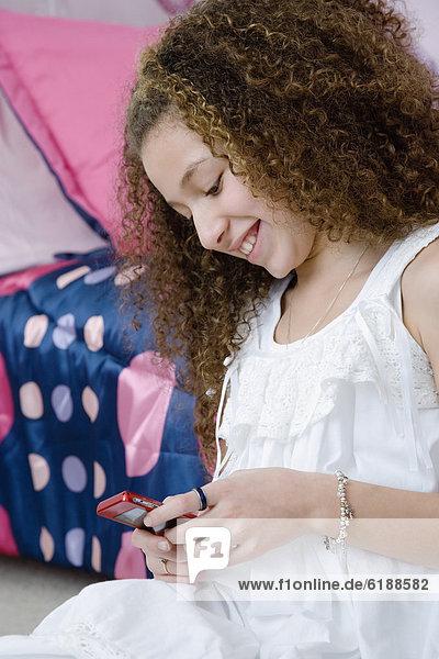 Handy  Text  mischen  Kurznachricht  Mädchen  Mixed
