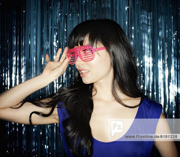 Frau  bizarr  mischen  Glamour  Sonnenbrille  Mixed