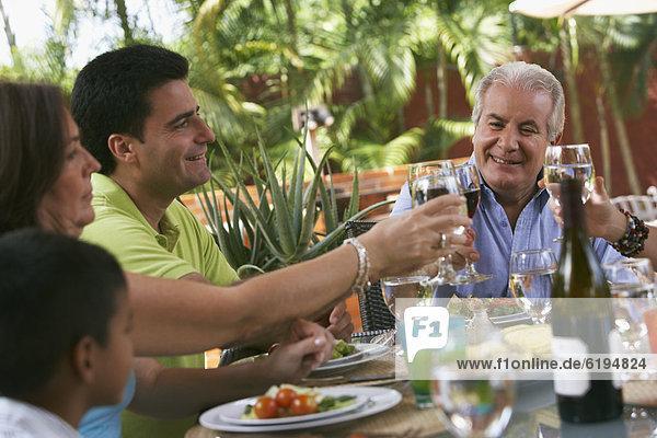 Fröhlichkeit  Wein  Gesundheit  rot  trinken  Mittagessen