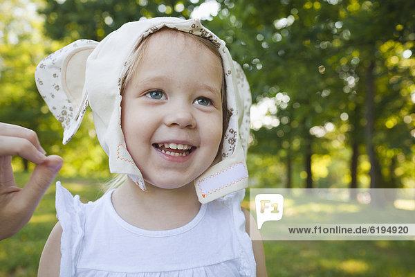 Caucasian girl in animal costume