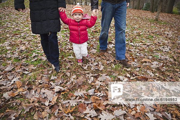 Caucasian parents walking with daughter through autumn leaves