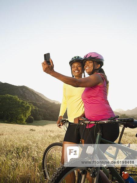 Berg  Freundschaft  nehmen  Selbstportrait  Fahrrad  Rad