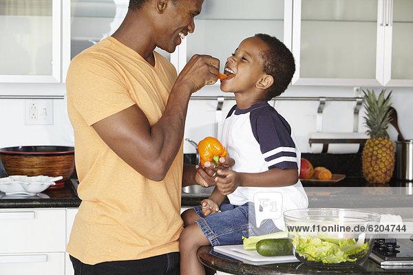 Menschlicher Vater  Sohn  Küche  Gemüse  amerikanisch  essen  essend  isst