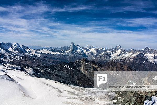 Europa Berg Matterhorn Alpen Ansicht Schweiz Kanton Wallis