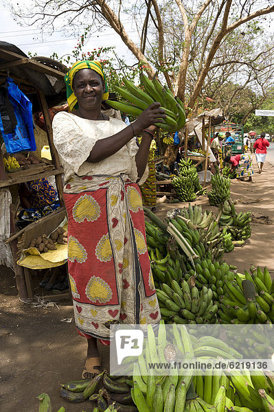Frau verkauft Kochbananen (Musa ssp) in Moshi  Kilimanjaro-Region  Tansania  Afrika
