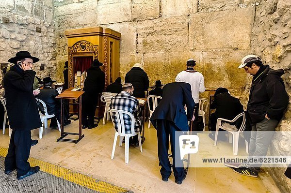 Hassidic Jews in the Prayer Hall  a covered section of the Western Wall Plaza  Western Wall Wailing Wall  Old City  Jerusalem  Israel