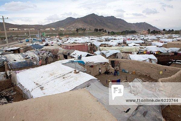 slum area inhabited with refugees  in Kabul