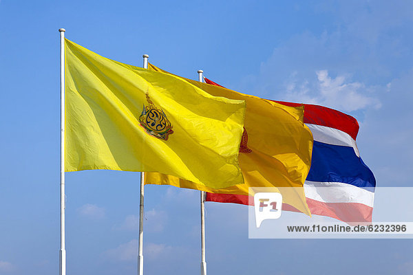 State flag and the royal standard  Bangkok  capital of Thailand  Southeast Asia  Asia