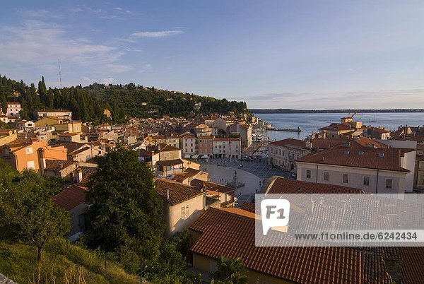 View over the old town of Piran  Slovenia  Europe