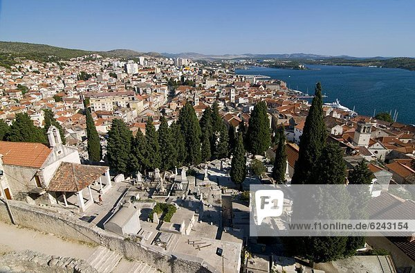 View over the town of Sibenik  Croatia  Europe