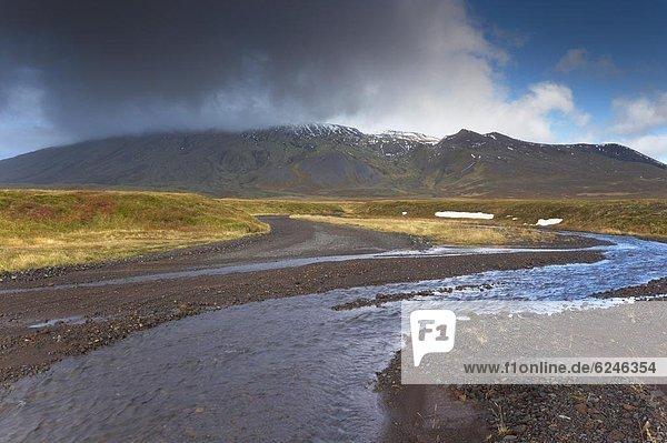 hoch  oben  bedecken  Eis  Vulkan  Snaefellsnes  Island