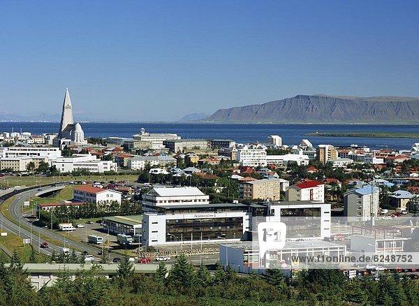 View from the Pearl (Perlan) facing north east towards the Hallgrimskirkja (Hallgrimsskirkja) which overlooks the city centre  Reykjavik  Iceland