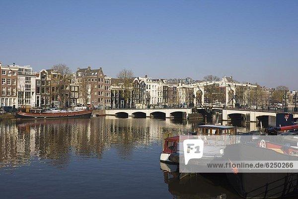 Amsterdam Hauptstadt Europa Brücke Fluss Niederlande