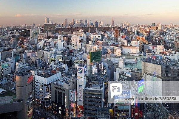 Skyline  Skylines  Tokyo  Hauptstadt  Ansicht  Erhöhte Ansicht  Aufsicht  heben  Shibuya  Asien  Japan  Shinjuku